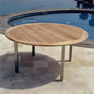 florence runder tisch 160 cm teak mit edelstahl. Black Bedroom Furniture Sets. Home Design Ideas