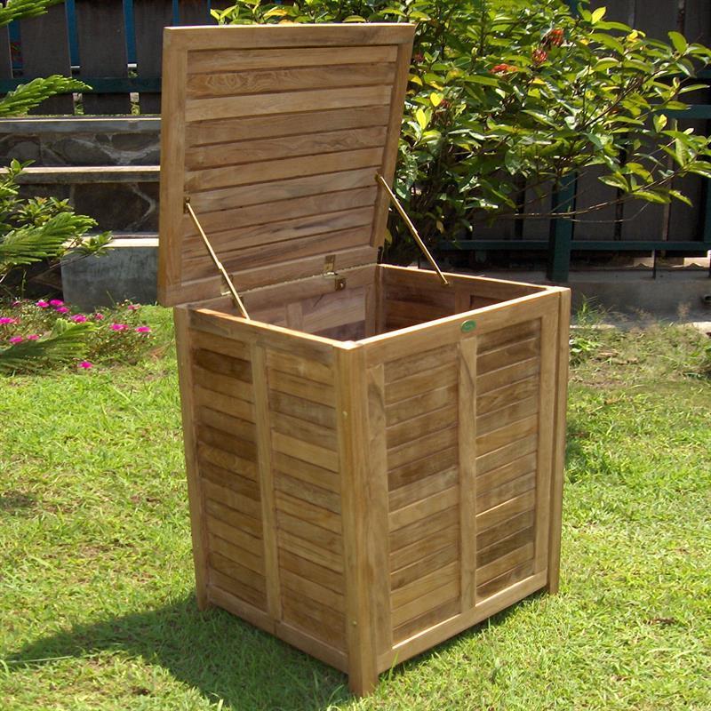 gartentruhe gartentruhe klein mit flachem deckel teak mit. Black Bedroom Furniture Sets. Home Design Ideas