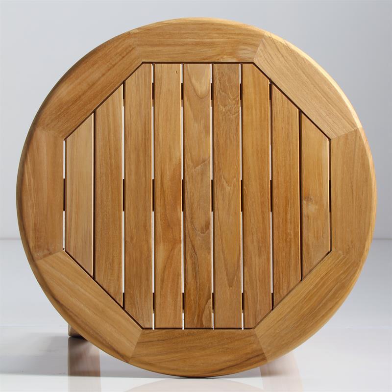 Tischplatte rund 120  Briston Beistelltisch rund 54cm Teak mit 6x6 cm Tischbeinen