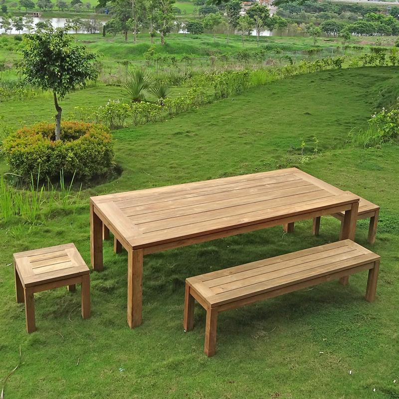 dusun gartenbank ohne r ckenlehne 214 cm recycling teak. Black Bedroom Furniture Sets. Home Design Ideas
