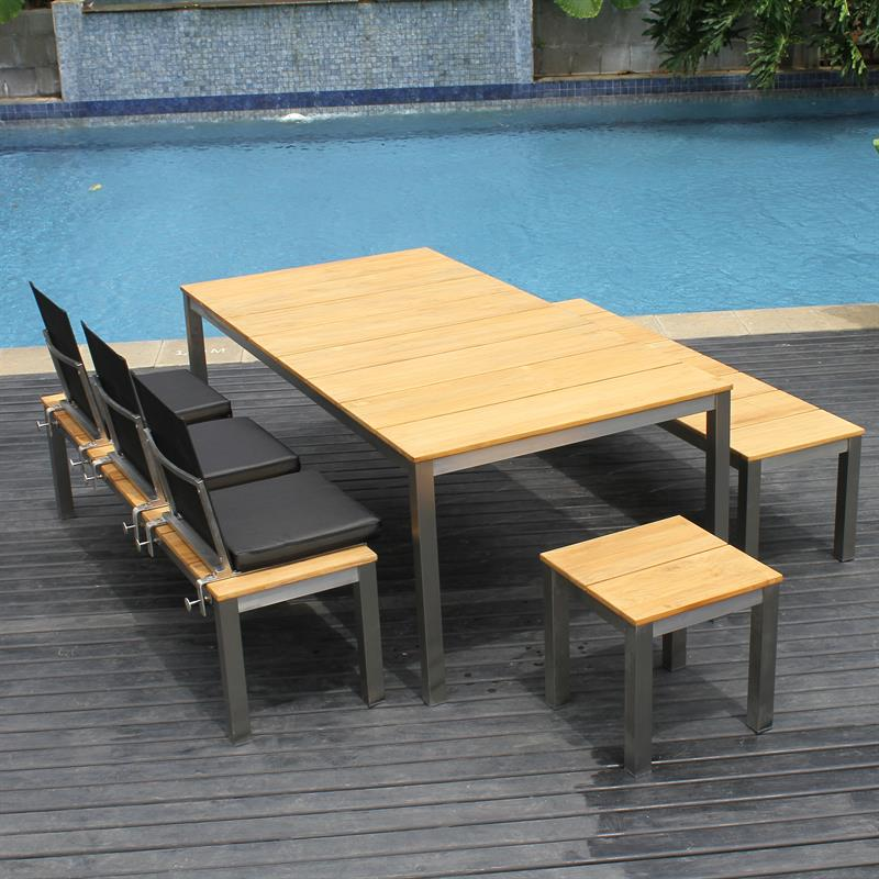 fides gartenbank ohne r ckenlehne 180 x 45cm vintage teak mit edelstahl. Black Bedroom Furniture Sets. Home Design Ideas