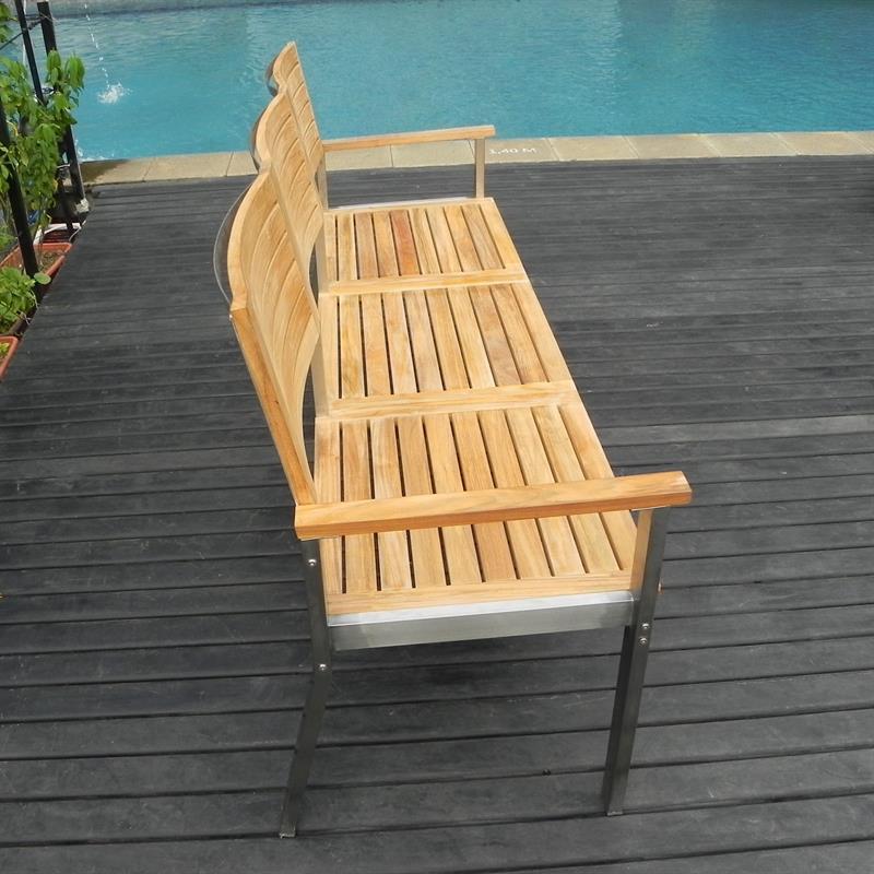 moselle gartenbank mit r ckenlehne 190 cm teak mit edelstahlgestell. Black Bedroom Furniture Sets. Home Design Ideas