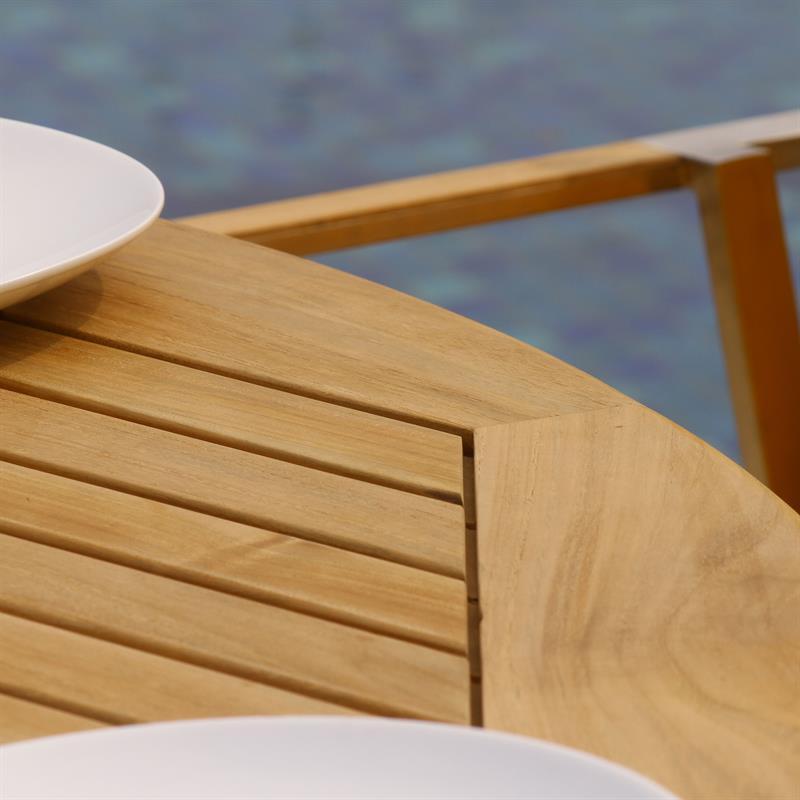 Teakoutlet De florence runder tisch 160 cm teak mit edelstahl