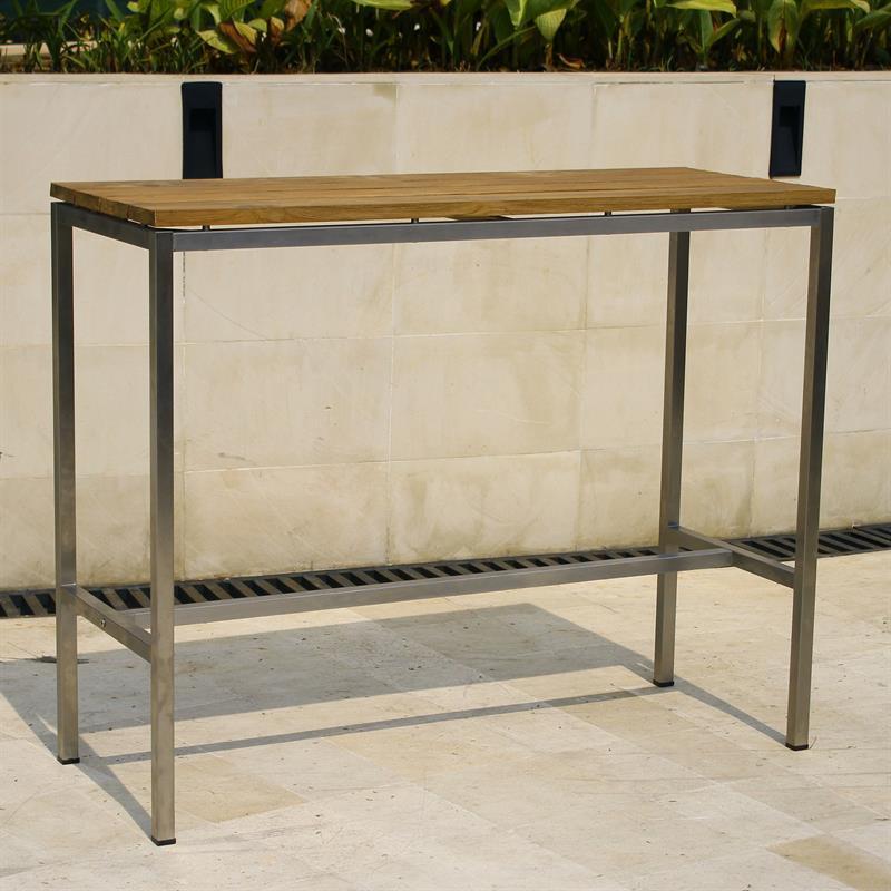 zilart bar tisch vintage teak mit edelstahl. Black Bedroom Furniture Sets. Home Design Ideas
