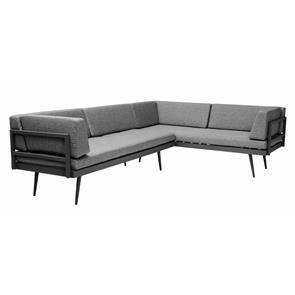 Rio Lounge Sofa 2 teilig anthrazit und grau Aluminium pulverbeschichtet mit allen Polstern