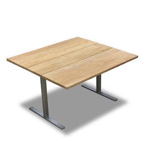 Planka Dining Lounge Tisch 120 x 120 x 69 cm Teak Grade A gebürstet mit Edelstahlgestell