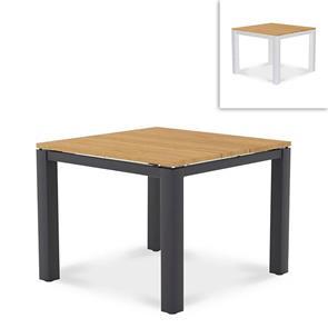 Planka Alu-Esstisch 100x100x76cm pulverbeschichtet Teak Grade A gebürstet mit Aluminiumgestell