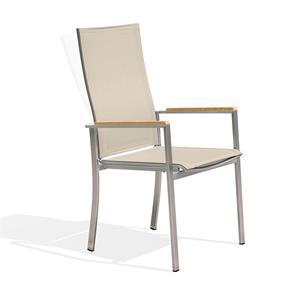 Alzette Relaxstapelstuhl mit hoher Rückenlehne neigbar - Edelstahl mit Batyline