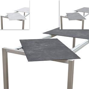 Marikk Rotations-Frontausziehtisch 220/160x99,5 cm Keramikplatte mit Edelstahlgestell