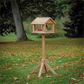 Vogelhaus Teak mit Teak Ständer 34x40x35 (130)cm zertifiziertes Plantagenteakholz