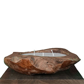 Teakholzschale mit Kerzenwachs groß - ca. 50 cm mit 3 Dochten