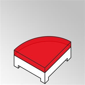 FLEXI Polster Beistelltisch Viertelkreis 13cm dick Sunproof für Rundsofa ohne Rückenkissen