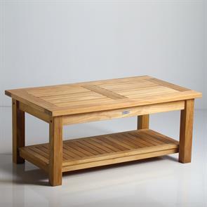 Briston Sofatisch 105 x 60cm mit Ablage Teak mit 6x6 cm Tischbeinen