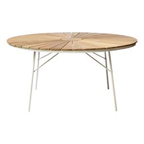 Ellen Tisch 150cm rund weiß Aluminium pulverbeschichtet mit Teaktischplatte