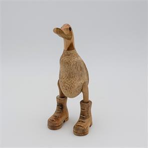 Ente »Bruno« - klein beige-braun aufrecht mit Schuhen