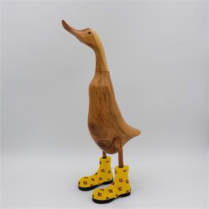 Ente »Dörte«  groß braun aufrecht mit gelben Blümchenschuhen