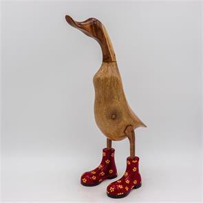 Ente »Fabienne« groß braun aufrecht  rot mit gelben Blümchen