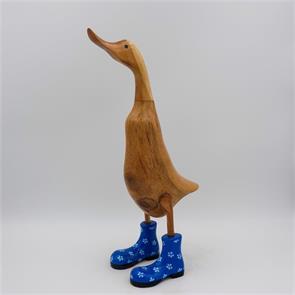 Ente »Ramona« groß braun aufrecht blau mit Blümchen