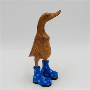 Ente »Rosalie« klein braun aufrecht  blau mit  Blümchen