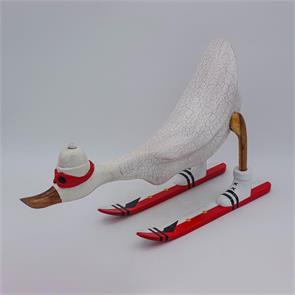 Ente »David« - groß vorn gebeugt weiß mit Ski