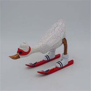Ente »Dominik« - klein nach vorn gebeugt weiß mit Ski