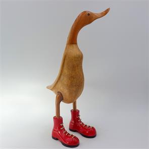Ente »Carmen« -groß braun aufrecht rote Schuhe