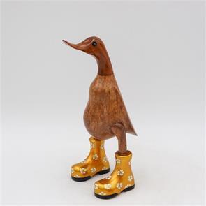 Ente »Bärbel«  klein braun aufrecht goldfarben mit Blümchen