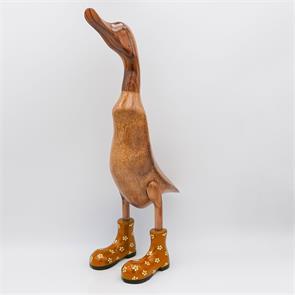 Ente »Bertha« riesengroß braun aufrechtgoldfarben mit Blümchen