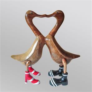 »LOuis & VErena« klar lackiertes küssendes Entenpaar