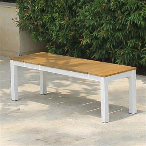 Fides Color Bank ohne Rückenlehne 130 x 45 x 45 cm Teak mit Aluminiumgestell