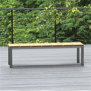 Fides Gartenbank ohne Rückenlehne 157,5 x 45cm Vintage Teak mit Edelstahl