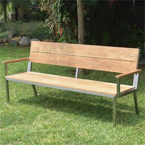 Makan Gartenbank mit Rücken- und Armlehne 192 Teak gebürstet mit Edelstahlgestell 192x63x90 cm