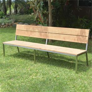 Makan Gartenbank mit Rückenlehne 230 Teak gebürstet mit Edelstahlgestell 230x63x90 cm