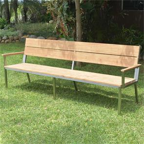 Makan Gartenbank mit Rücken- und Armlehne 240 Teak gebürstet mit Edelstahlgestell 240x63x90 cm
