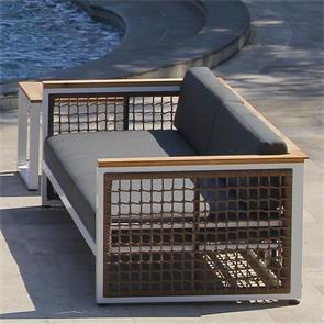 Bowline Sofa 2- Sitzer 199 x 92 x 66 cm Geflecht mit Aluminium