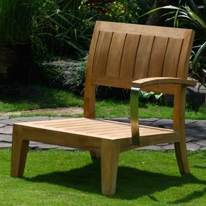 Nivelle 1 Sitzer Seitenmodul links 71 x 83 x 83 cm mit Teak/Edelstahl-Armlehnen