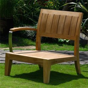 Nivelle 1 Sitzer Seitenmodul rechts 71 x 83 x 83cm mit Teak/Edelstahl-Armlehne