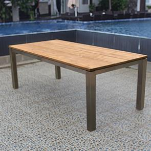 Planka Esstisch 210 x 100 x 76 cm Teak Grade A gebürstet mit Edelstahlgestell