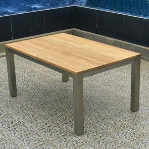 Planka Esstisch 160 x 100 x 76 cm Teak Grade A gebürstet mit Edelstahlgestell