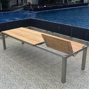 Planka Frontausziehtisch 310/210 x 100 x 77 cm Teak Grade A gebürstet mit Edelstahlgestell