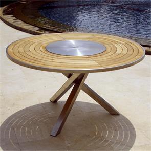 Signature Tisch rund 137 cm Teak mit Edelstahldrehtablett