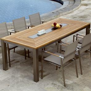 Signature Tisch rechteckig 220 x 100 x 76 cm Teak mit Edelstahlablage in der Mitte