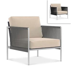 Snix Sofa/Sessel 1 Sitzer  75x78,5x74,5cm -  rostfreier Edelstahl, Batyline und Rope-Material