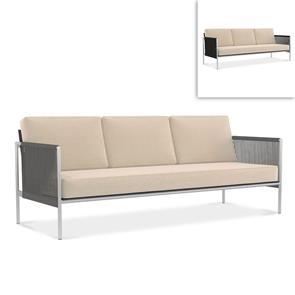 Snix Sofa 3 Sitzer  211x78,5x74,5cm -  rostfreier Edelstahl, Batyline und Rope-Material