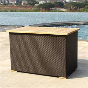 Hybridtruhe regendicht 137x78x90 cm Geflechttruhe mit Aluminium-Innenbox und Teaktop