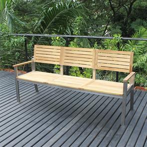 Moselle Gartenbank mit Rückenlehne 190 cm Teak mit Edelstahlgestell