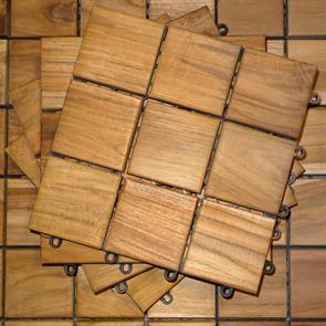 Terrassenfliese Teak 30x30x3cm  - bestehend aus 9 Teilen in der Größe 10x10cm