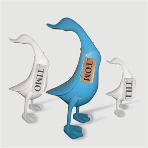 Ente »Tom« - groß blau aufrecht ohne Schuhe Kopf nach hinten