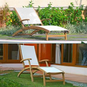 Rivera Liege und Deckchair Set - Teak GRADE A + Batyline + Edelstahlbeschläge