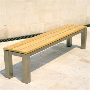 Zilart Gartenbank ohne Rückenlehne 190x45 cm -  Teak GRADE A NATUR gebürstet + Edelstahlgestell